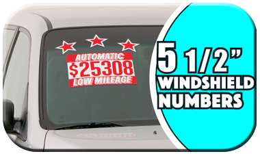 """6/"""" White Sign Painter Numbers Car Dealer Windshield Pricing Stickers 175-WHI"""